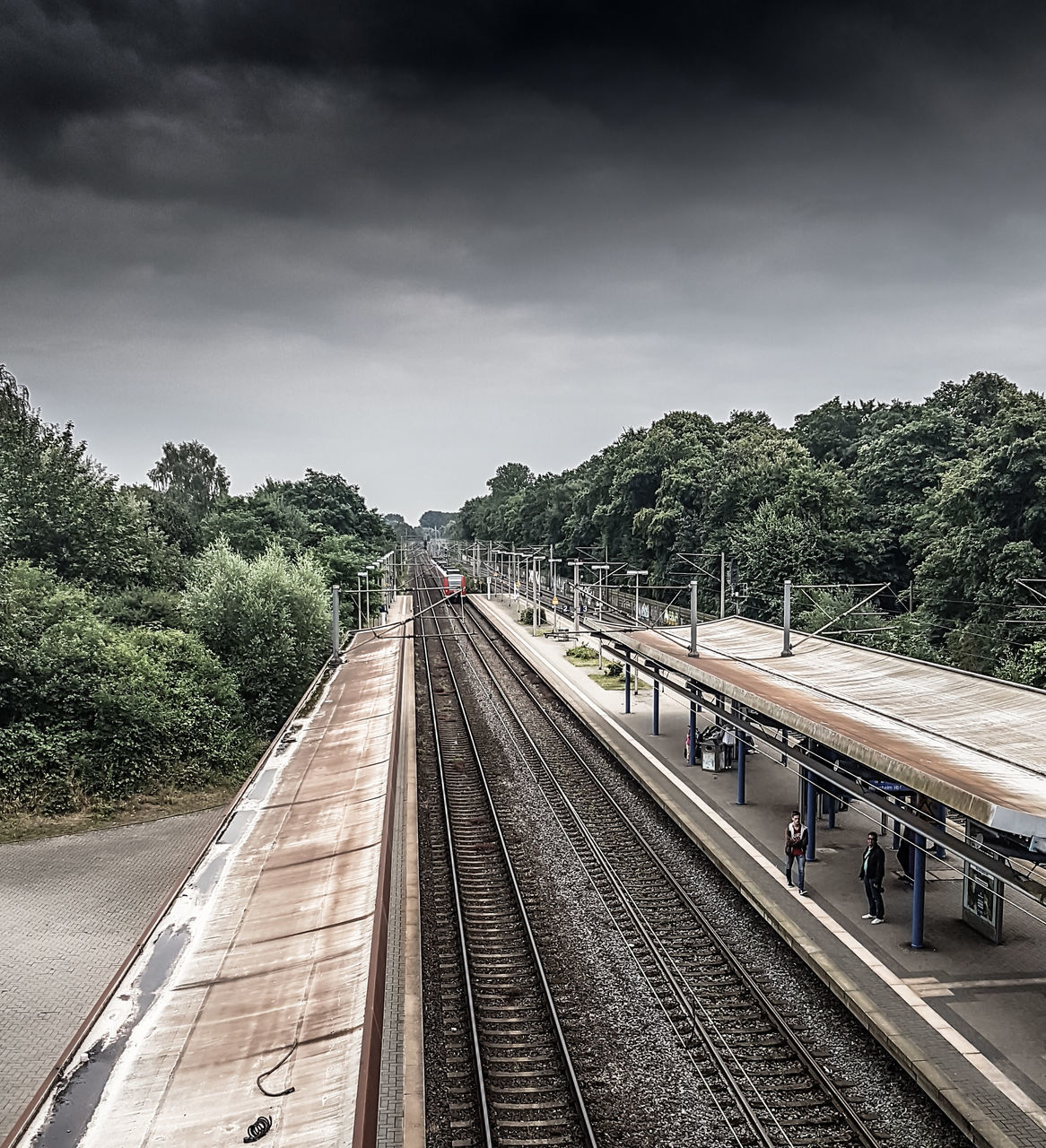 railroad track, transportation, rail transportation, tree, sky, railway track, the way forward, day, public transportation, high angle view, outdoors, track, cloud - sky, no people, nature