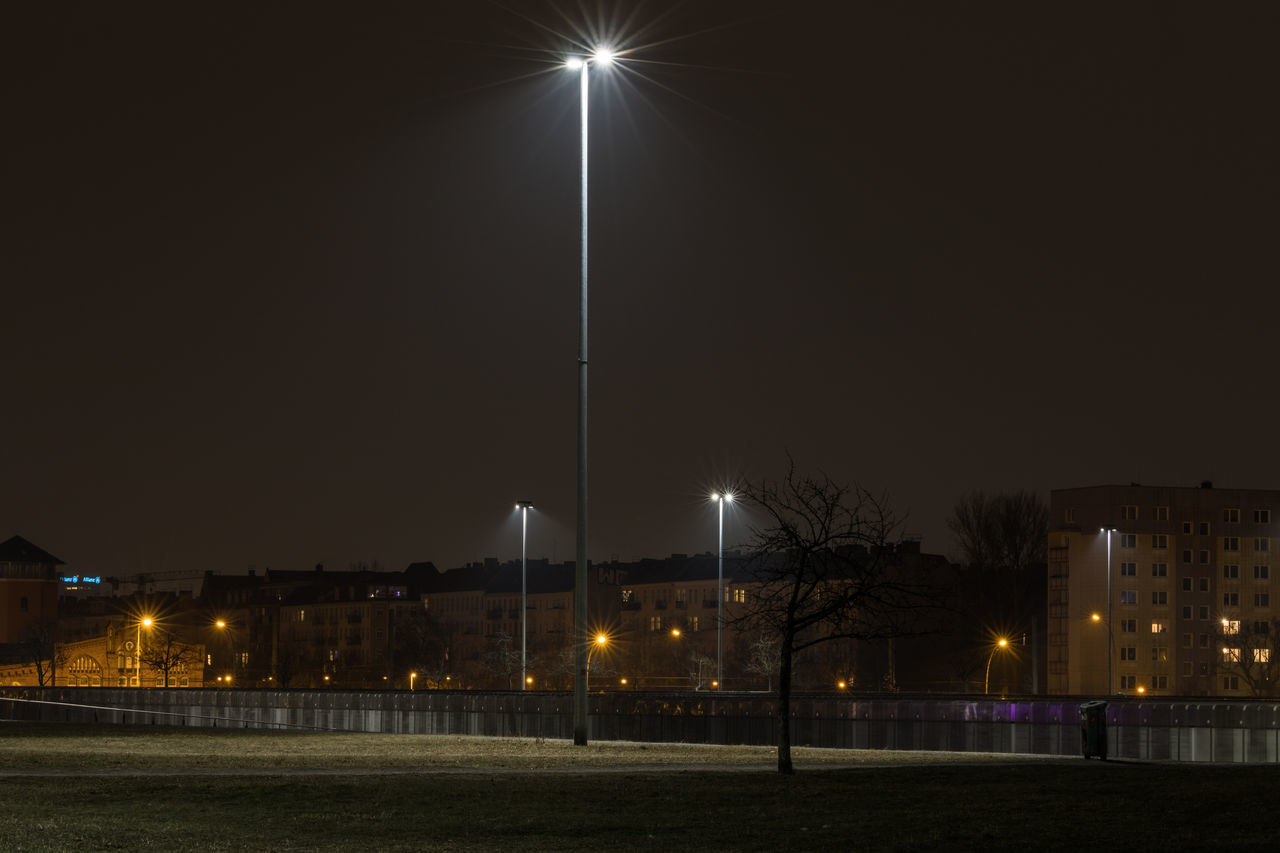 Architecture City Dark Darkness And Light Electricity  Illuminated Lamp Lighting Equipment Night Night Lights Nightphotography No People No People, Outdoors Sky Star - Space Stars Street Lamp Street Light Tree The Architect - 2017 EyeEm Awards