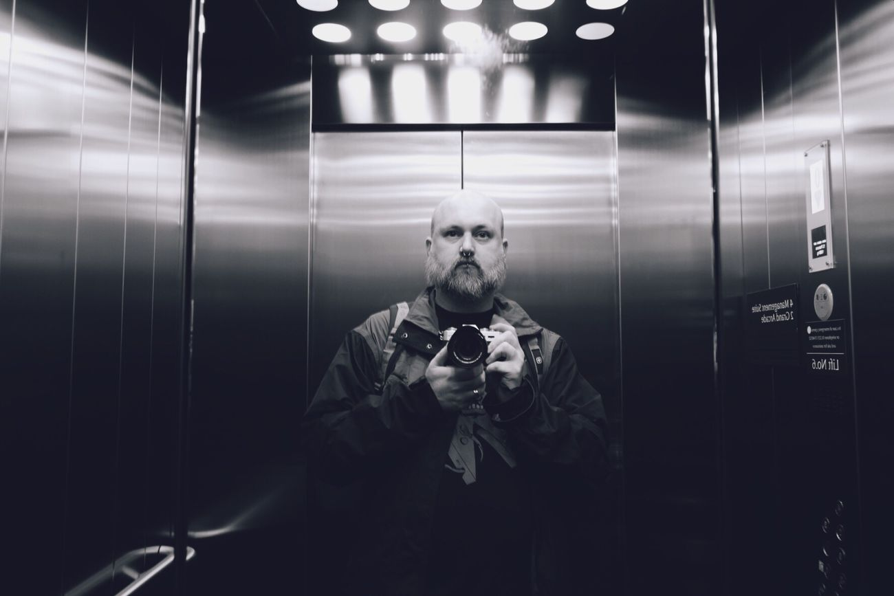 Selfie in an elevator. Self Portrait Elevator Monochrome