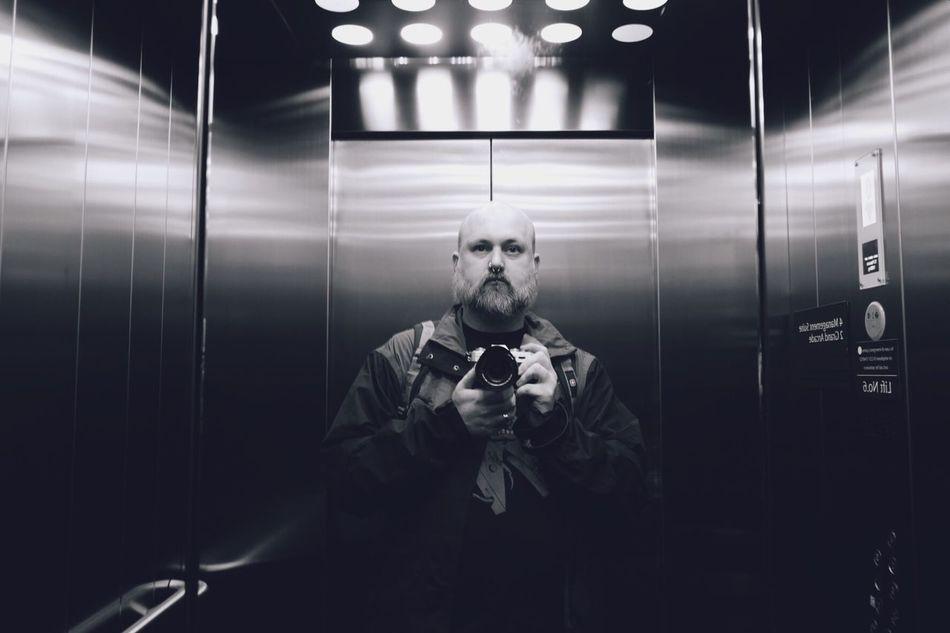 Selfie in an elevator. Self Portrait Elevator Monochrome