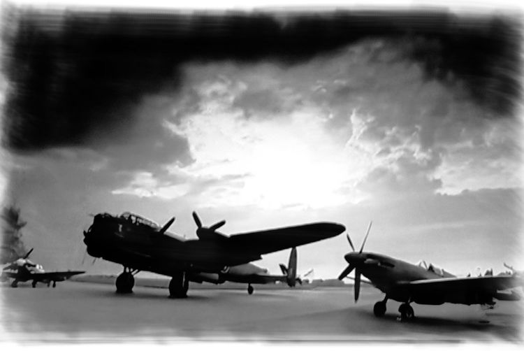 Last of the Few Airplane Battle Of Britain Black & White Dambusters Lancaster Bomber No People Sky Spitfires Vintage WWII