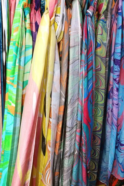 Multicolored Fabric Detail Fabric Art Scarves #patterns #different #style #fashion Colorfulfabric Clothing Variation Retail  Textile Choice For Sale Hanging