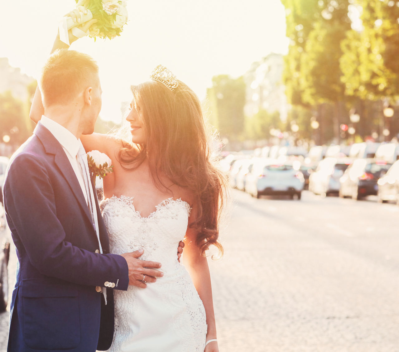 Bride Bride And Groom Champs-Élysées  Couple Embracing France French Groom Just Married Love Love Lovers Outdoors Paris Street Summer Sunlight Sunset Tender Tiara Two People Walking Wedding Wedding Day Wedding Photography