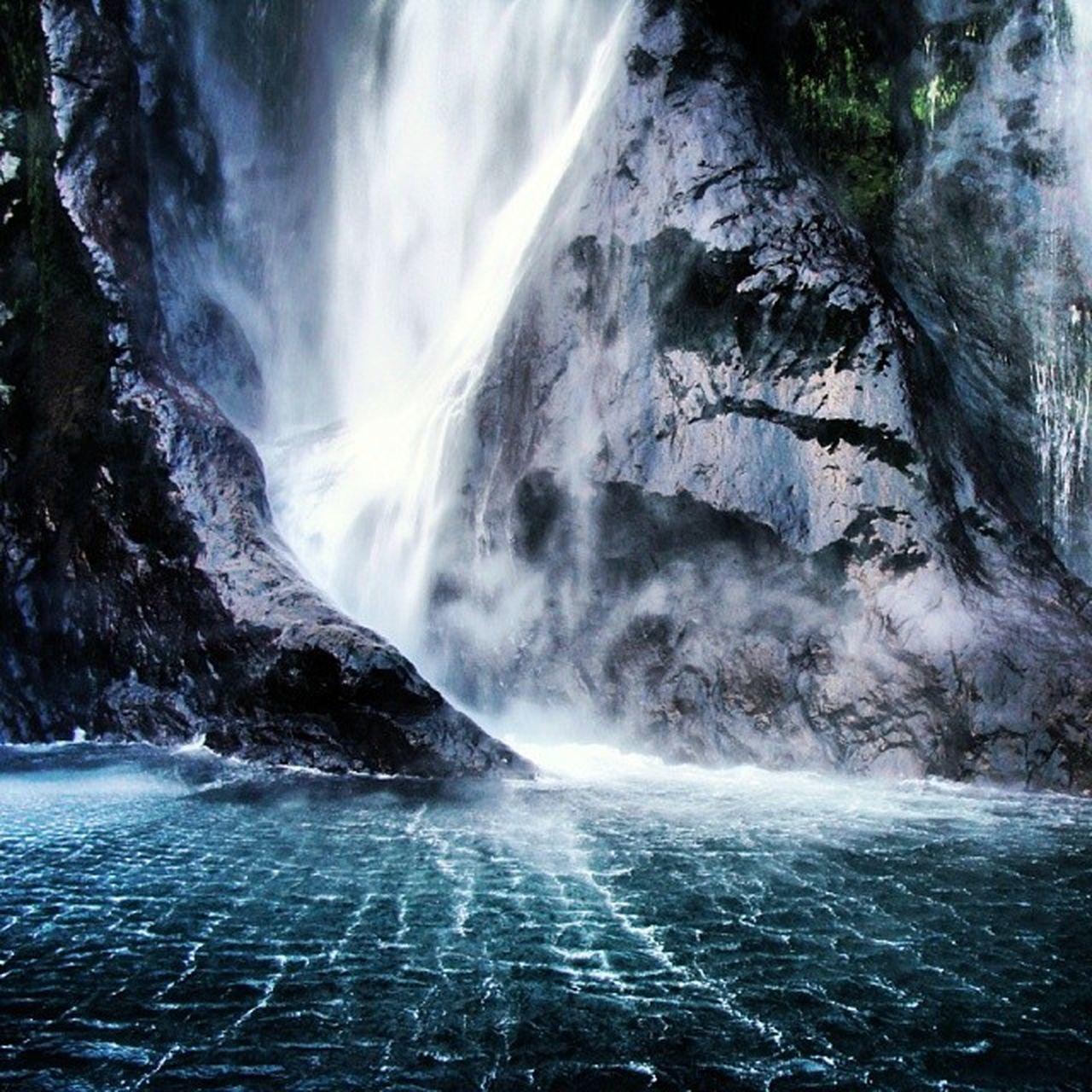 Milford Sound New_Zealand NZ Base Waterfall Ripples Power Nature Water Rugged Rock Travel Tourist The Great Outdoors - 2016 EyeEm Awards Boat Trip Amazing Awesome Beautiful Peaceful Daytrip Picoftheday Instanature InstagramNZ Nature Photography