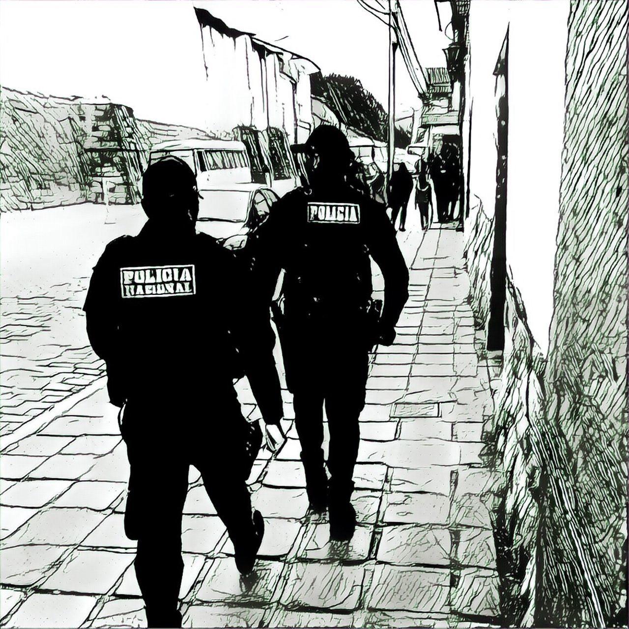 Police Police Force Two People Text Occupation Outdoors Peru Cusco, Peru Patrolling Art Comic Drawn ArtWork Black & White Artistic B&w