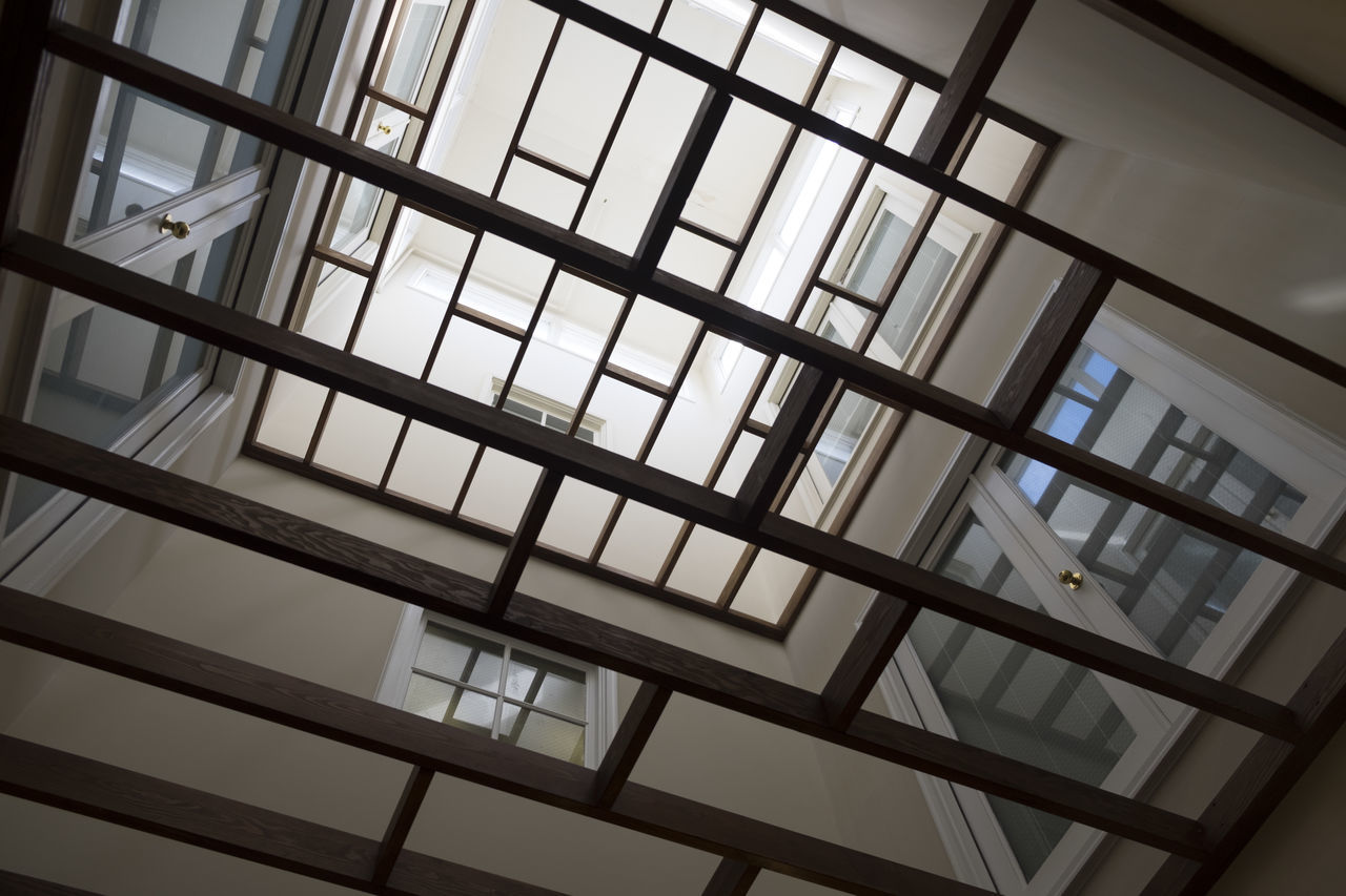 Looking through patterns Architecture Indoors  Looking Through Looking Up Low Angle View Modern Neutral Colors Neutral Feel Neutral Tones No People Non Objective Pattern Woodworking