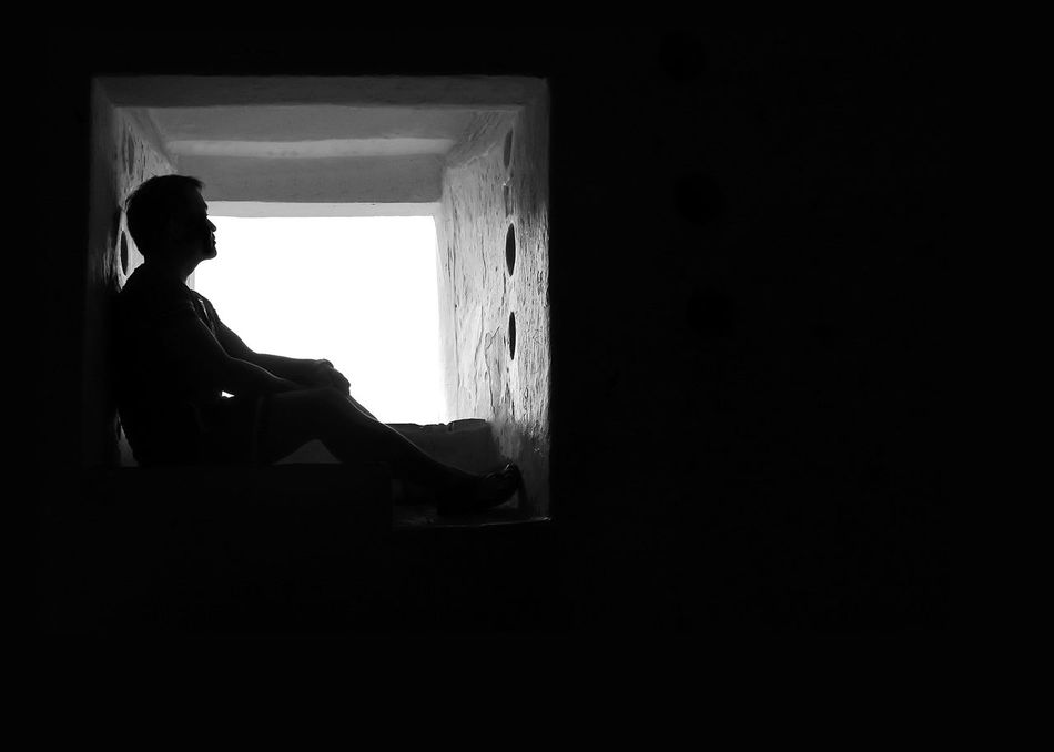 Alone Black And White Depression Emotions Frame Hiding Indoors  Leisure Activity Loneliness One Person Relaxation Side View Silhouette Sitting The Secret Spaces