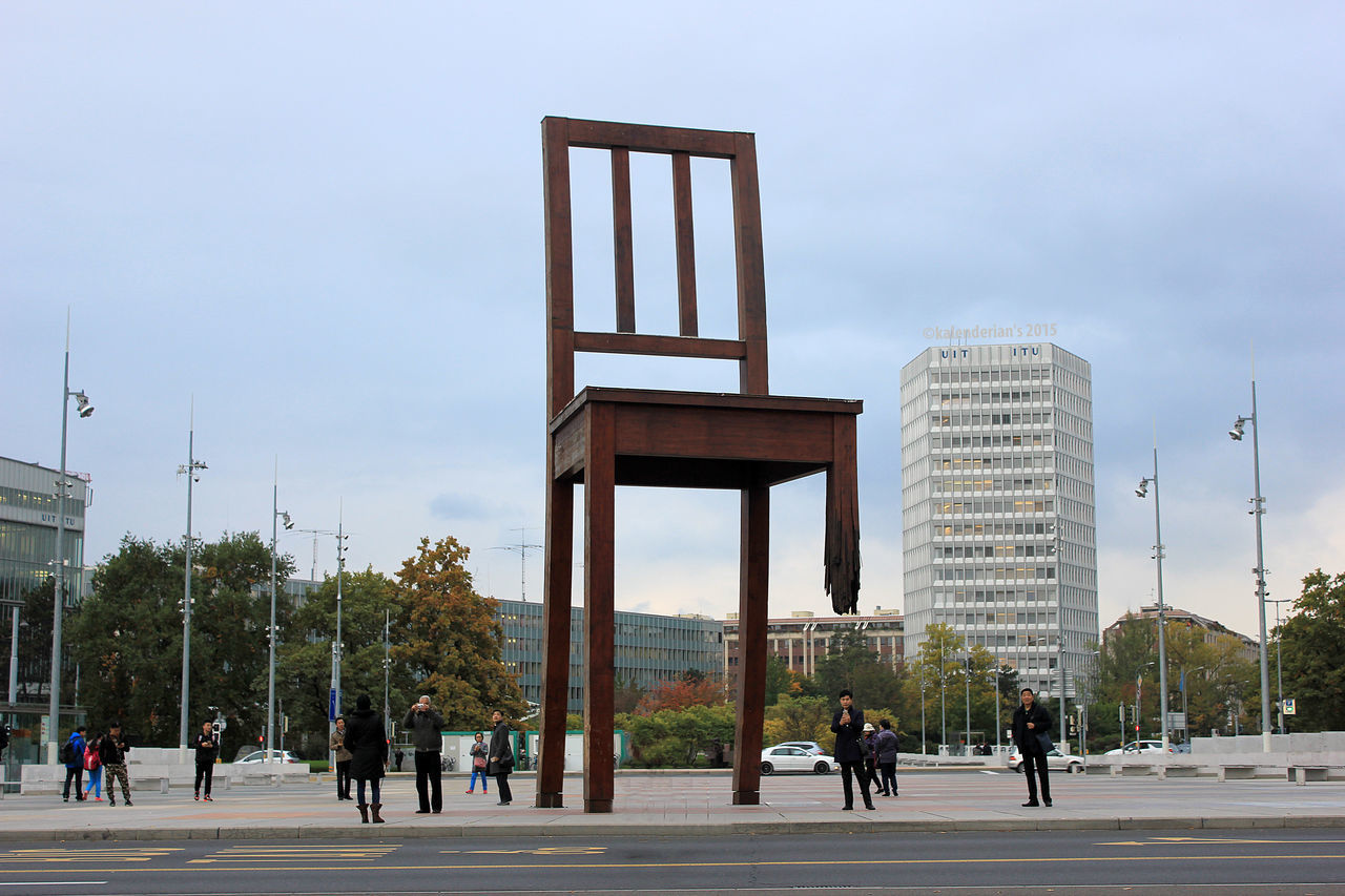 Architecture Broken Chair Chair City Day Geneve People Tourism