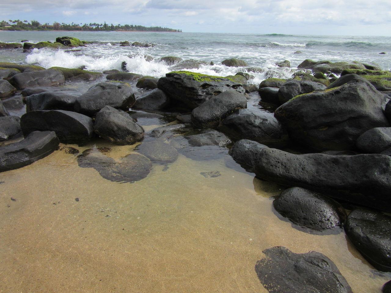 Beach Sea Water Nature Sand Horizon Over Water No People Kauai, Hawaii Kauai Hawaii Rocks And Water Tranquil Scene