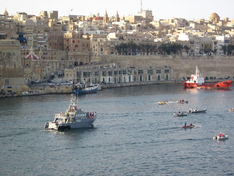 grand harbour, ruder regatta Boat Cityscape Ferry Grand Harbour Harbor Malta No People Outdoors Ruder Regatta  Sailing Sea Shipping  Valletta Water