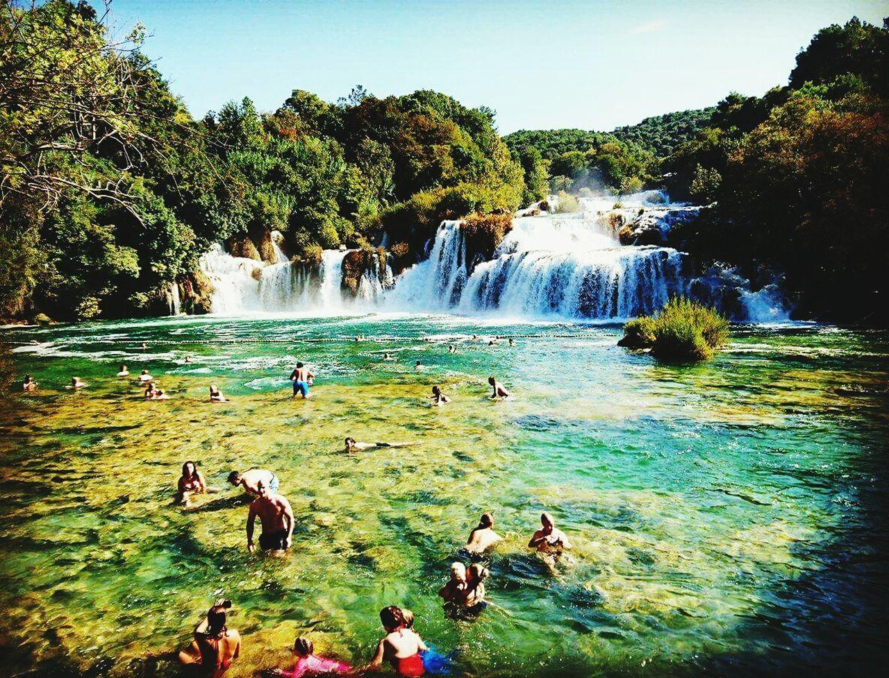 Krka national park Water Swimming Outdoors Beauty In Nature Sky Nature People Adult Waterfalls💦 Croatia Krka Krka National Park