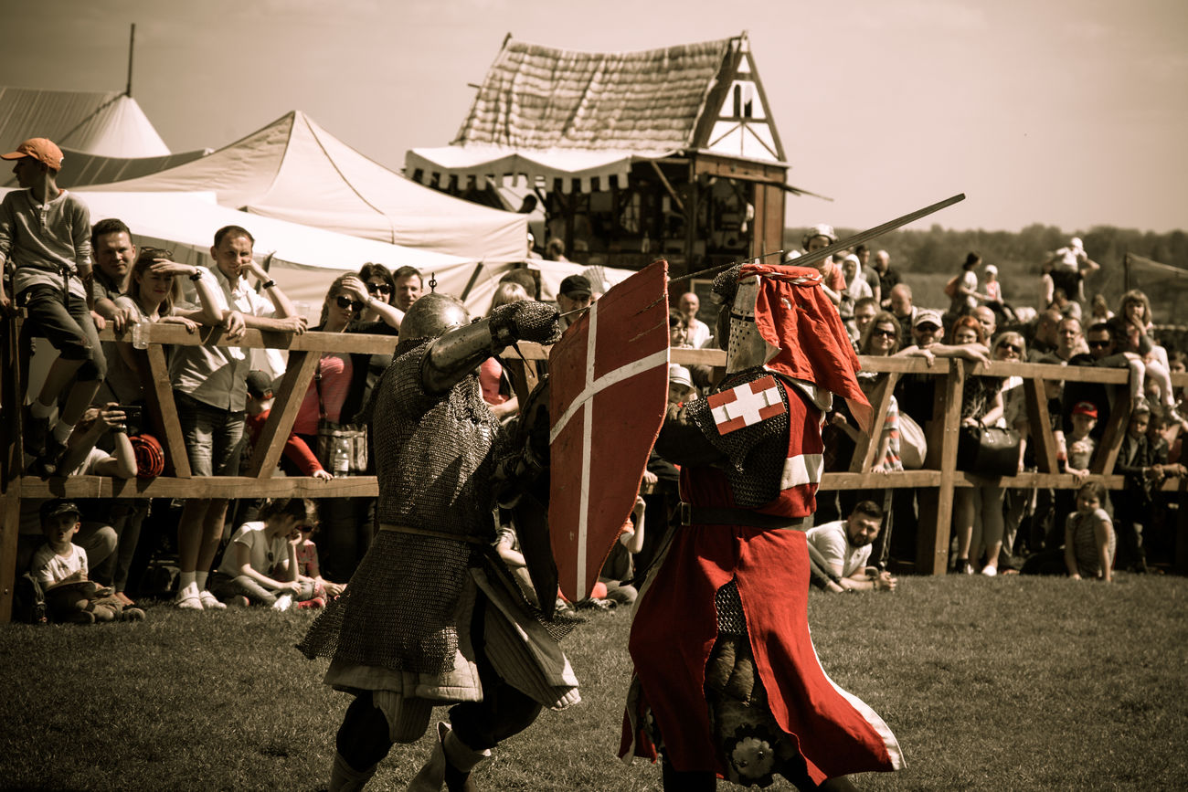 Kinghts duel during XI knights tournament Czersk Day Field Historical Reenactment History Large Group Of People Men Outdoors People Real People Shield Swords