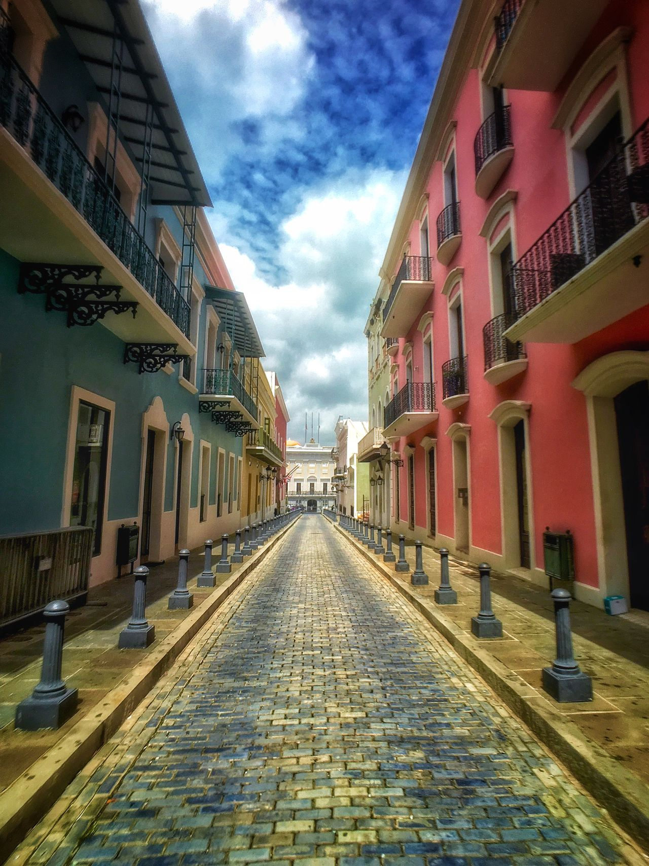 Streets of Blue and Gold On The Way San Juan PR Puerto Rico Blue Cobblestone Cobblestone Streets Showcase July Pink And Blue Bright Colors Brightly Colored Buildings Spanish Arquitecture Island Adventure Check This Out Taking Photos