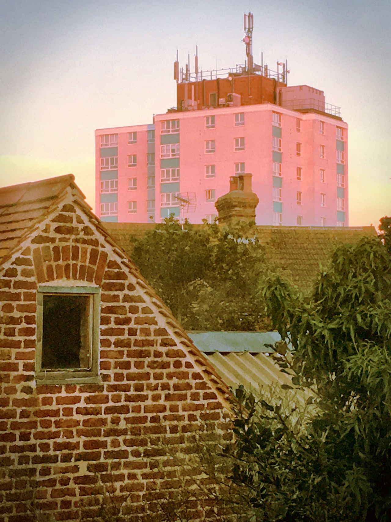 Sunset Highrise Buildings Building Exterior Pink Rooftops Whitstable Kent England