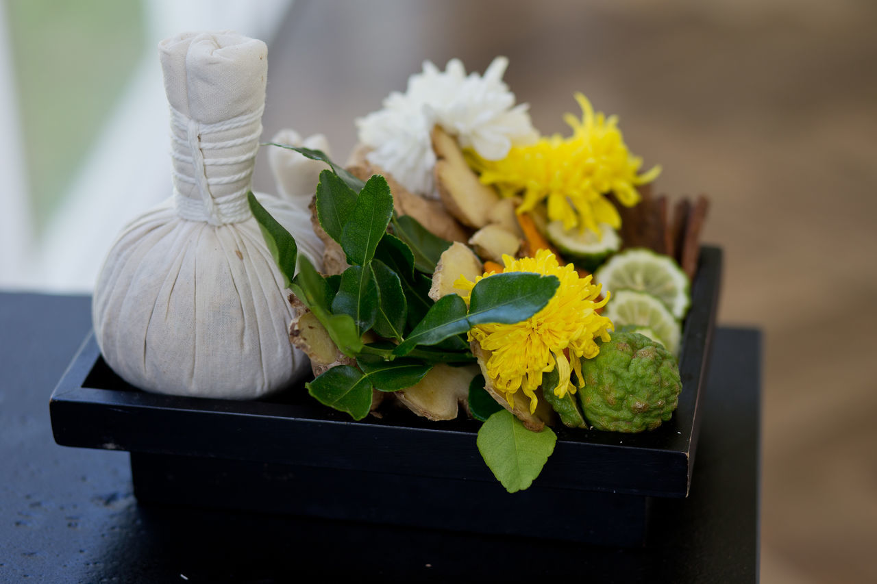 Spa massage setting with thai herbal compress stamps Aromatherapy Close-up Compress Stamp Flower Herbal Herbs Indoors  Leaf Lifestyles Massage Nature No People Plant Rejuvenate Relationship Relaxing Relief Retreat Scented Setting Spa Thai Therapy Traditional Treatment