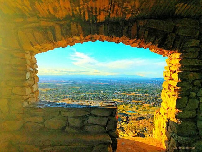 South Mountain Park  Phoenix, AZ Landscape Through Window Stone Building Amazing View Yellow Glow Mountain View