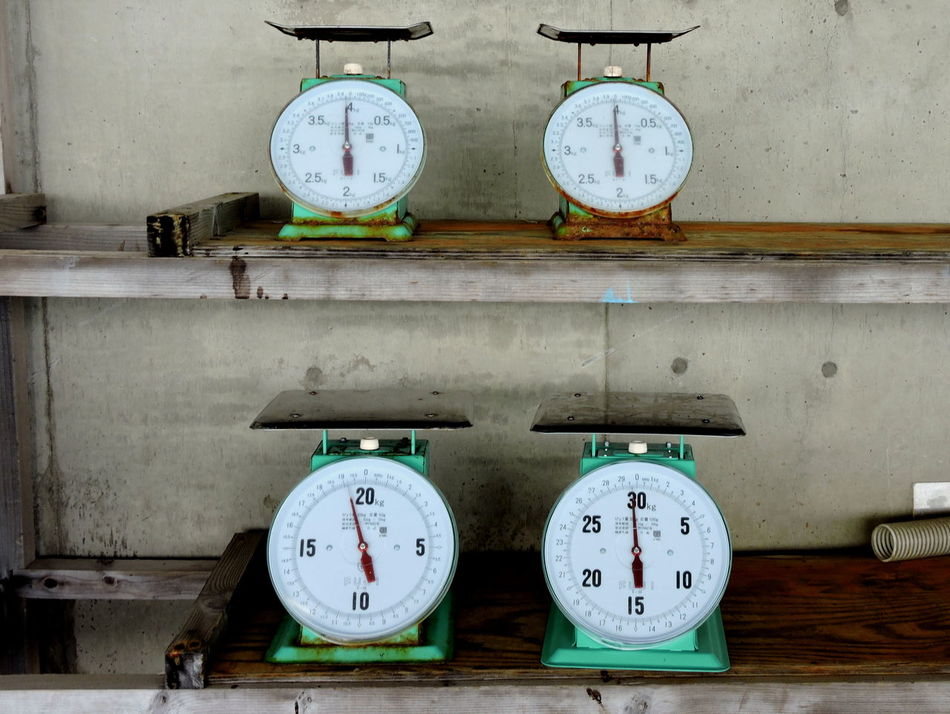 Accuracy Fish Market Group Of Four Measurements No People Number Old Still Life Weight Scales
