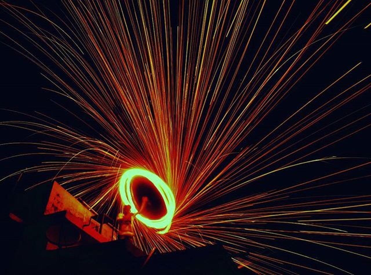 long exposure, night, motion, wire wool, illuminated, backgrounds, no people, outdoors