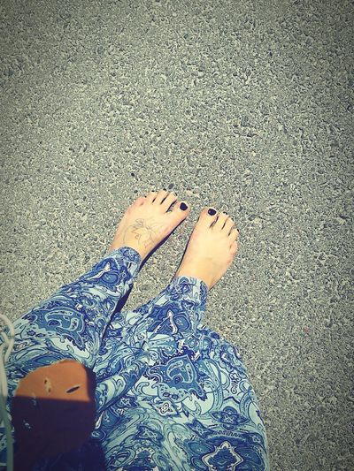 Summer and barefeet! It does good for your feet to walk without shoes, so people get ur shoes off!!
