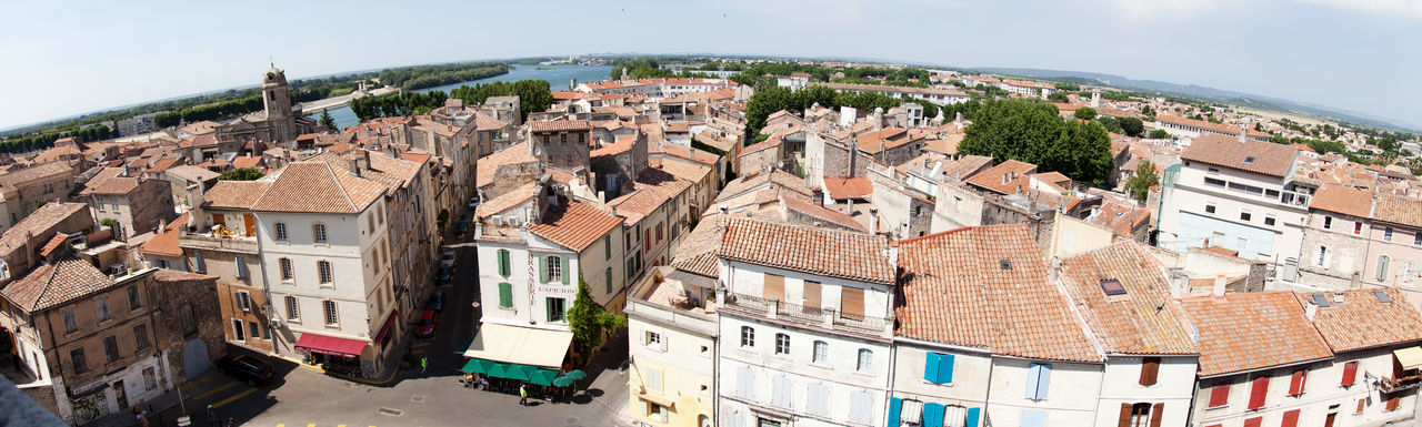 Overview over Arles, France Aerial Aerial Shot Aerial View Arles France Mediterranean  Mediterranean Village Overview Residential District Roof Rooftops A Bird's Eye View