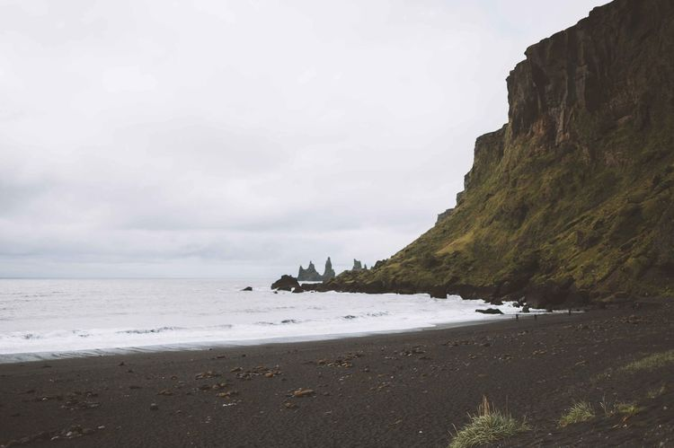 Beach Beauty In Nature Black Black Sand Beach Cliff Coast Coastline Day Horizon Over Water Iceland Idyllic Landscape Nature No People Ocean Outdoors Rock - Object Sand Sea Sky Tranquil Scene Tranquility Trip Vacation