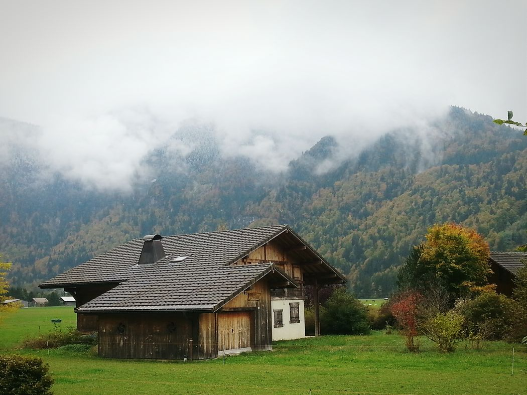First SnowOn The Mountains Octoberweather Color Of Autumn Cold Day Samoens French Alps Clouds And Mountains