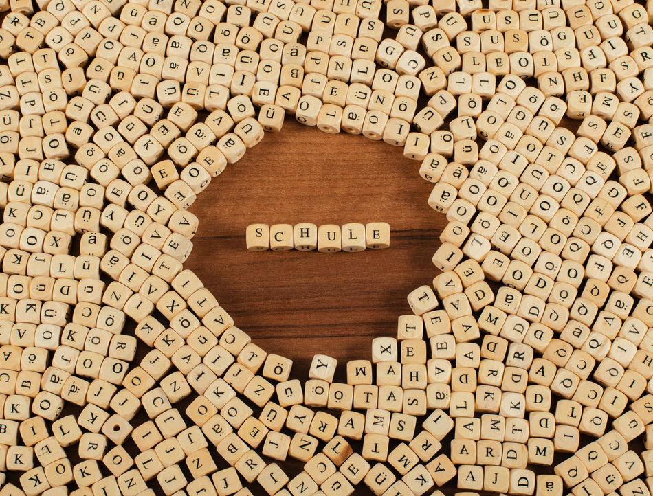 Schule Buchstaben Würfel auf einem Holzbrett Buchstaben Business Büro Concept Etikett Flat Lay Holzbrett Kommunikation Schule Wort Würfel