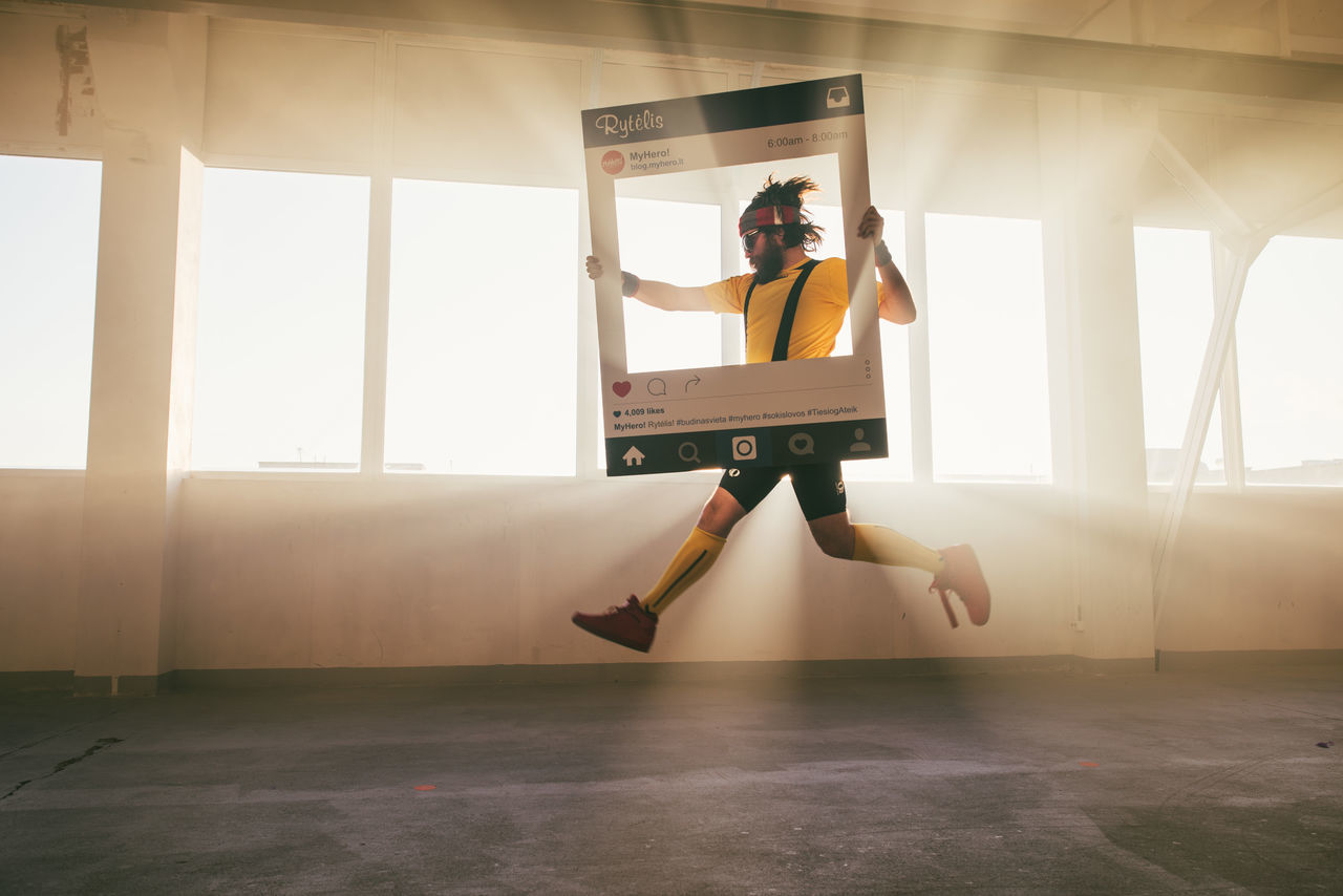 Frame Jumping Lifestyles One Person Playing Real People Skill  Sunlight Window Young Adult