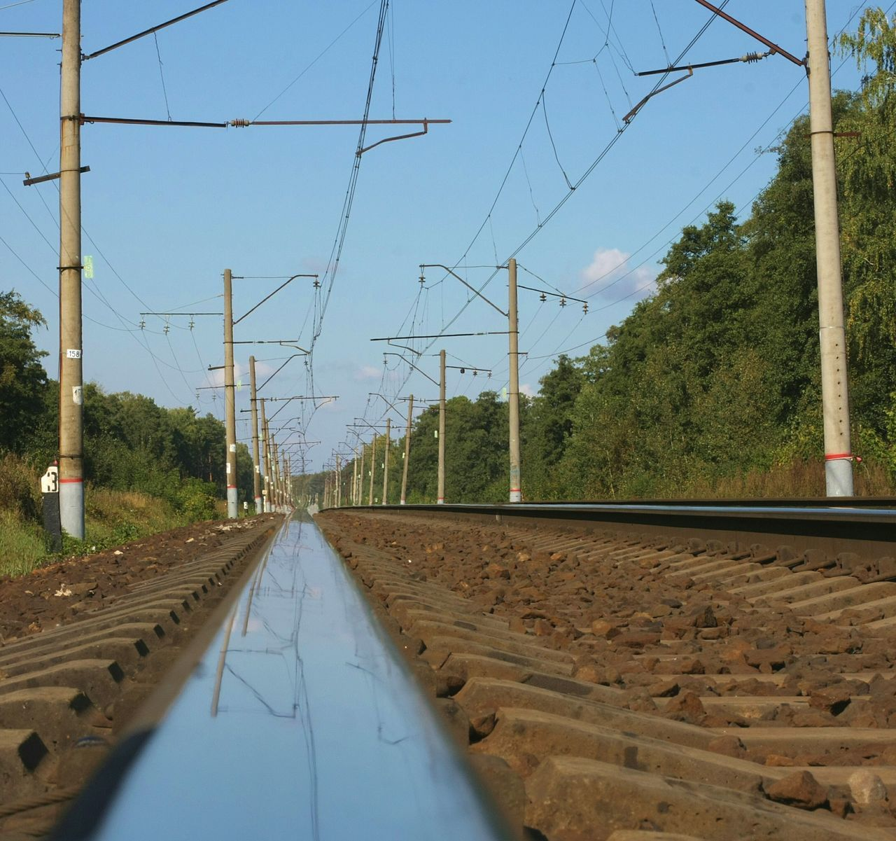 Rail Road Train Tracks RussianBlue Sky Day Electricity  No People Clear Sky