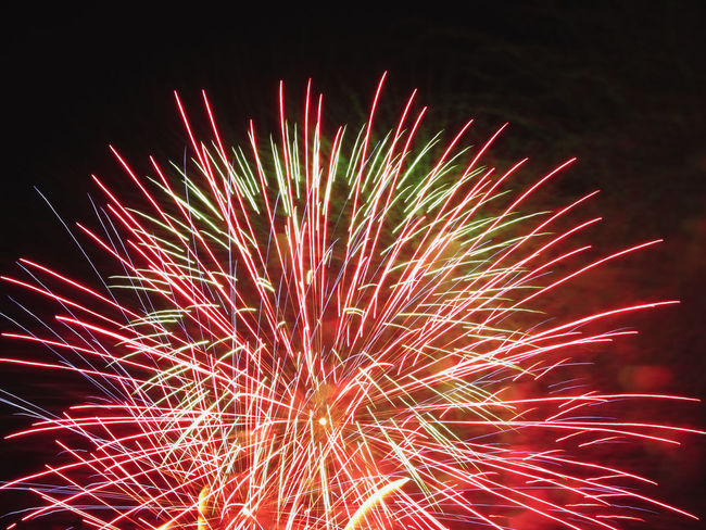 Colorful fireworks of various colors light up the night sky Anniversary Background Black Bright Burst Celebrate Celebration Dark Display Event Exploding Explosion Festive Fire Firework Fireworks Fourth Holiday Isolated On Black Light New Year Night Pyrotechnics Show Sky