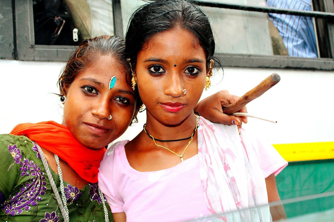 Adult Adults Only Bindi Care Culture Cultures Day Girls Hindu Hinduism India Indian Looking At Camera New Delhi New Delhi,india Outdoors People Poor Kids Poorpeople Portrait Real People Togetherness Two People Young Adult Young Women
