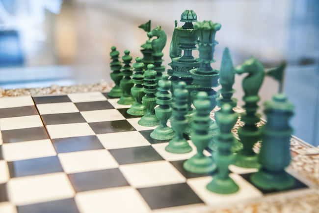 Antique Chess Game Chessboard Chess Set Green Old Retro Still Life Objects