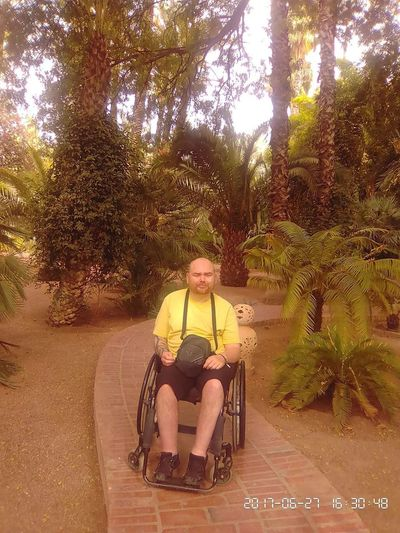 Day Differing Abilities Full Length Happiness Leisure Activity Lifestyles Nature One Person Outdoors Palm Tree People Physical Impairment Real People Senior Adult Senior Men Sitting Smiling Tree Wheelchair Young Adult