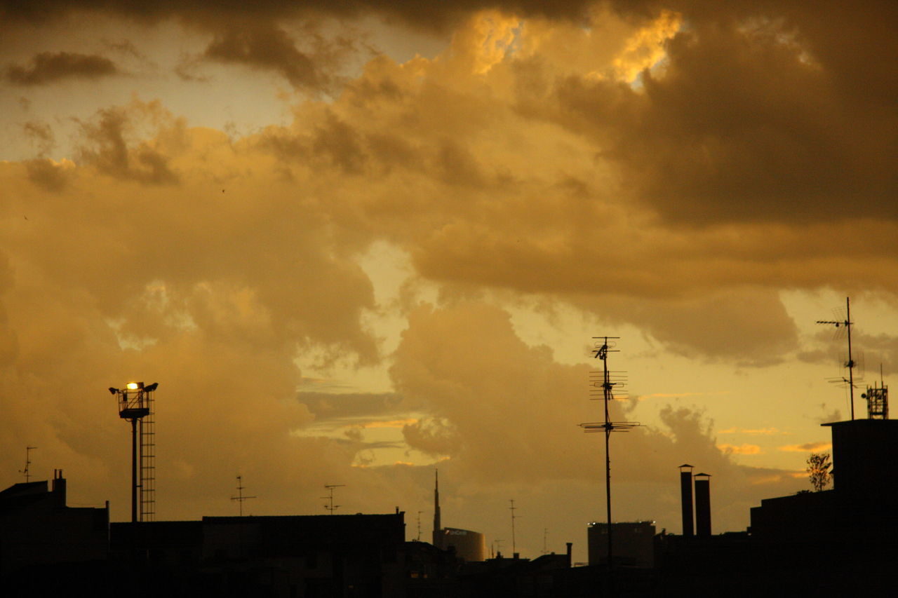 Antenna Architecture City City Life Cloud Cloud - Sky Cloudscape Cloudy Orange Color Pollution Silhouette Sky Sunset