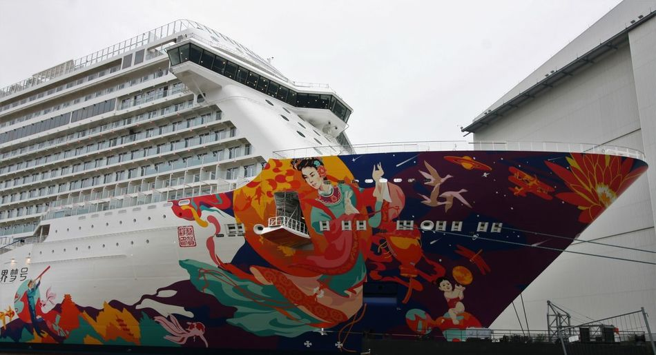 Kreuzfahrtschiff Für Die Chinesen Meyerwerft World Dream Day No People Outdoors