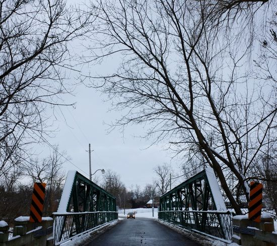 bridge to cross Bridge Bridge - Man Made Structure Architecture Built Structure Connection Tree Sky Road Outdoors No People Transportation Day Low Angle View Bare Tree City