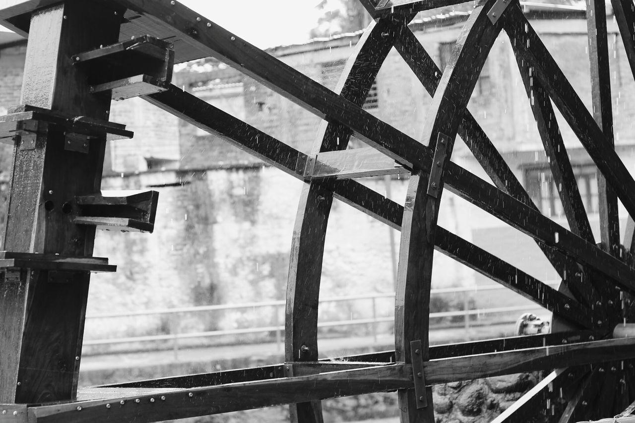 Water Wheel Against Building