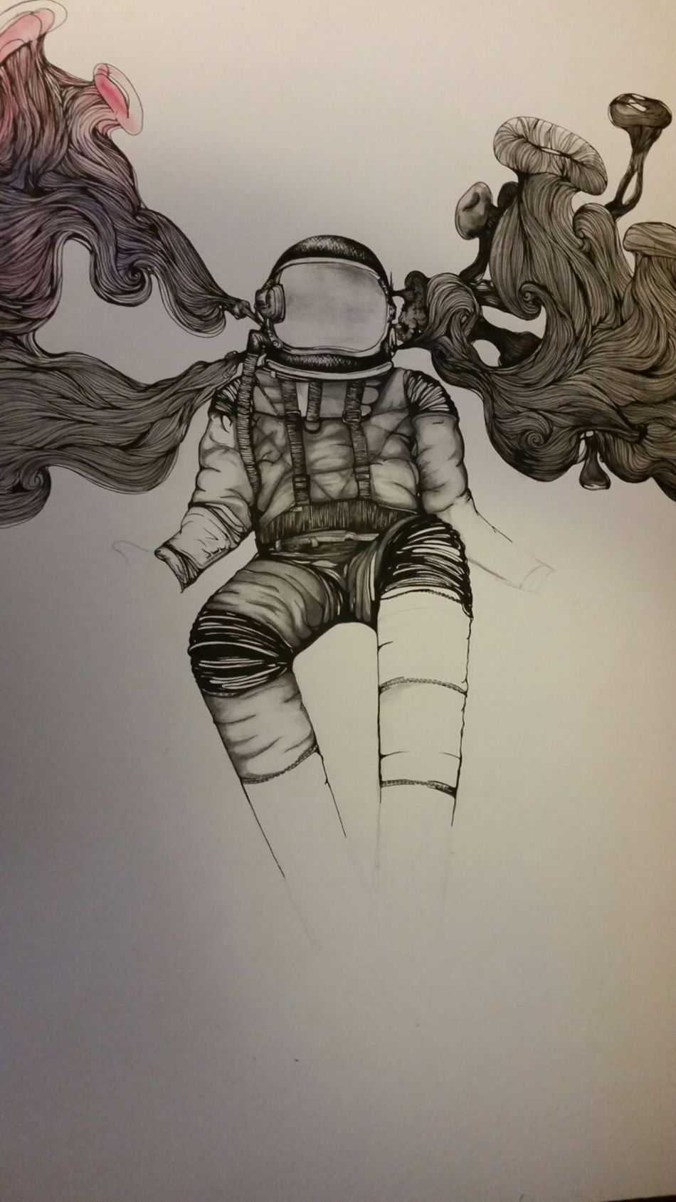 Astronaut Micropen Watercolor Pencil Drawing