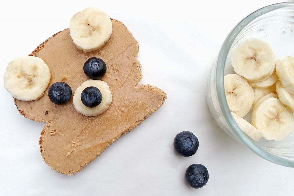 Bear shaped peanut butter and banana sandwich Blueberry Sweet Food Food Plate Close-up Breakfast Sandwich Bread Toasted Bread
