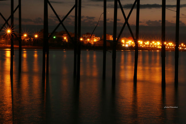 Sea Waterfront Light The Night Sky Caspian Sea Iran Port Port Of Anzali Iran Canonphotography Canon 70d