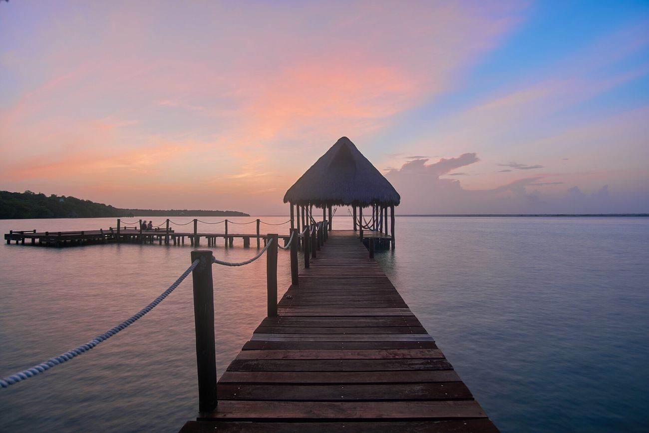 nice landing stage at Bacalar Quintana Roo Mexico Sunset Beauty In Nature Architecture Tranquil Scene Idyllic Outdoors Water Sky Wood Paneling Eye4photography  Eye4photograghy EyeEm Gallery Tadda Community Waterfront Seascape Hollyday Yucatan Mexico Eyem Masteclass