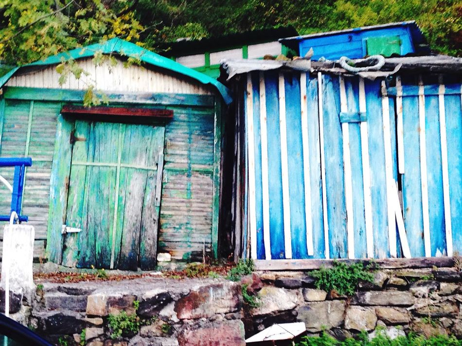 Fishing Huts Blue Green Old Buildings Abandoned Places
