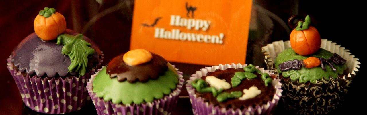 Panoramic Shot Of Halloween Cupcakes