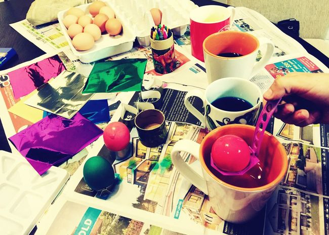 Easter Egg Dying: Childhood Memories Supplies Creative Messy Messy Table Craft Area Crafting Time  Newspaper Mugs Egg Arts Colors Bright Tradition Memories Childhood Fun Dyed Colorful Craft (null)Decorating Egg Decorating Eggs... Easter Easter Eggs Hand