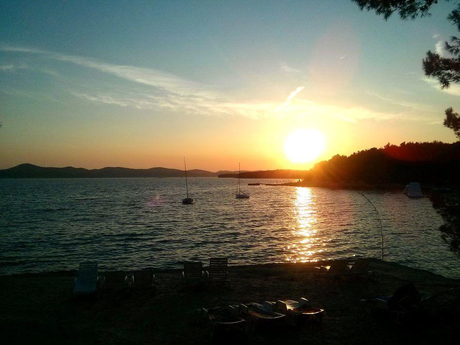 Sunset Reflection Outdoors Travel Destinations Sea Nature Beauty In Nature Day Croatia Beach Pine Beach Sun