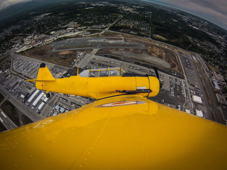 T-6 over Merill Field Airport - Anchorage Alaska Aircraft Airport Alaska Architecture Aviation Built Structure Day Flugzeug Gopro No People Outdoors T-6 Texan Transportation Warbird Yellow