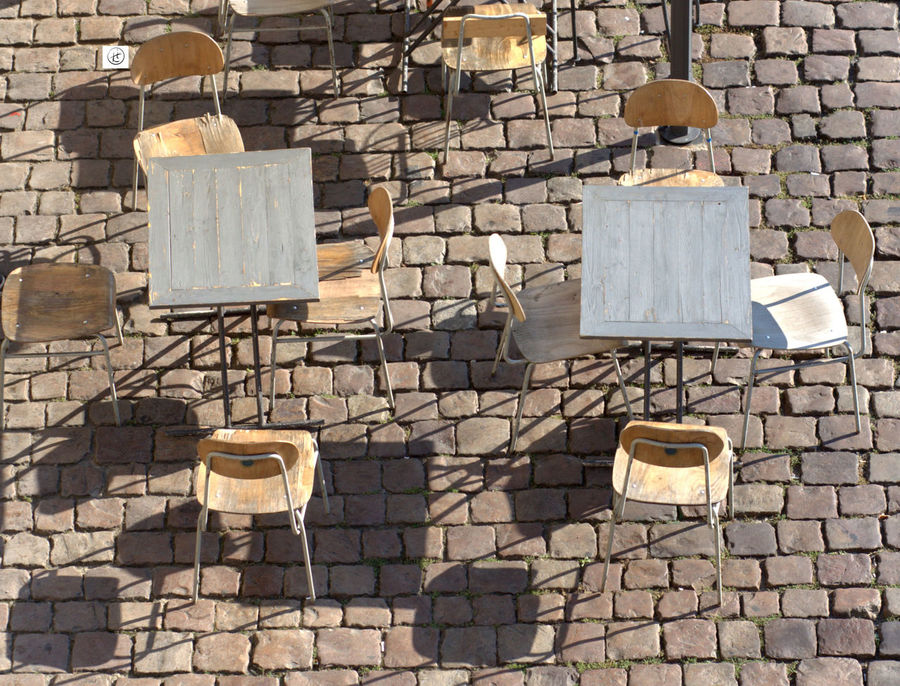Chairs Cobblestone No People Outdoors Prague Shadows Tables Waiting For Customers