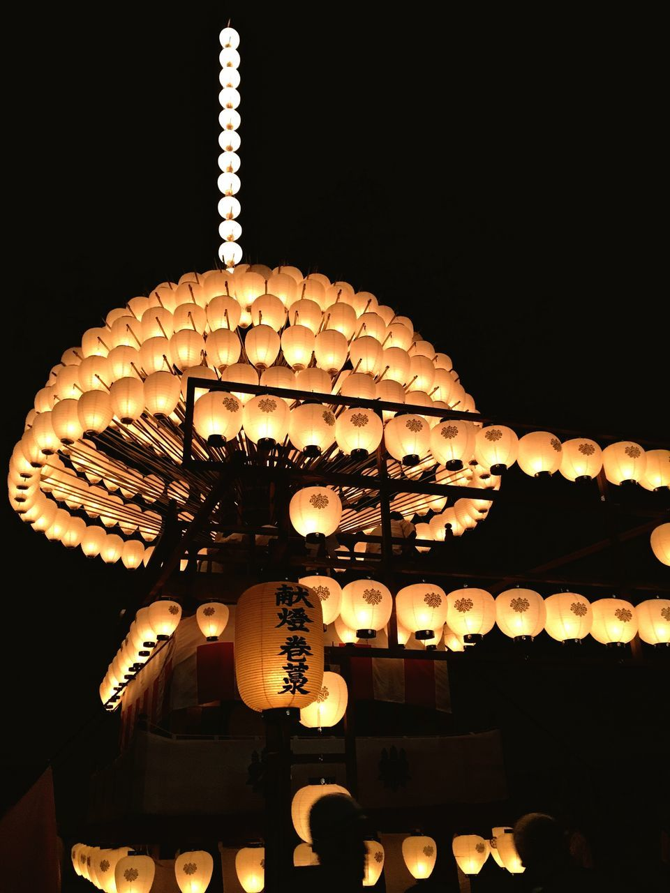 illuminated, lighting equipment, night, low angle view, hanging, cultures, no people, lantern, indoors