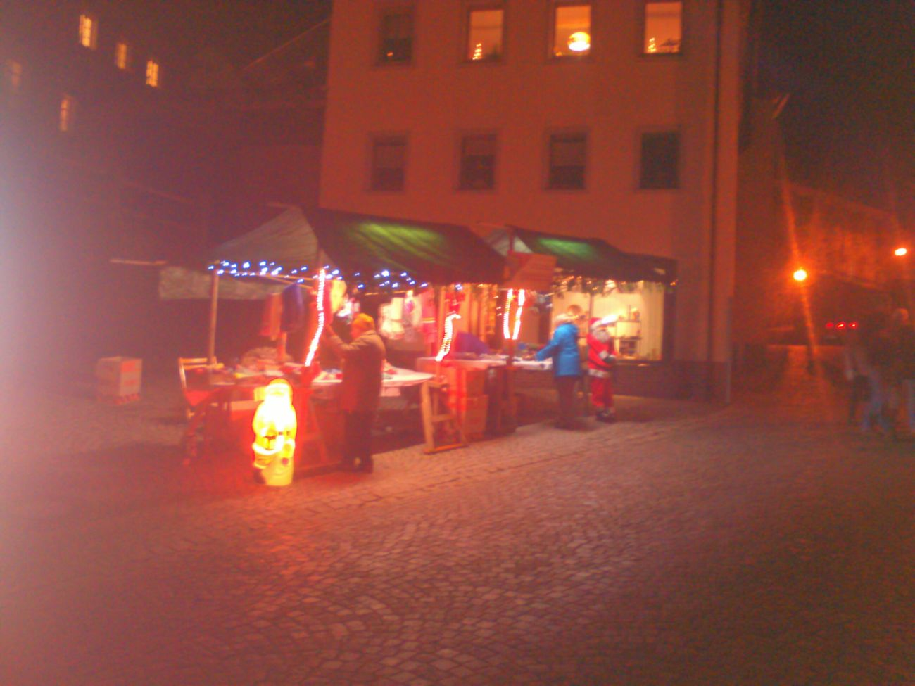 Christmas Lights Colors Market Nightphotography Thurnau
