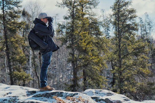 Lookout. Outdoors Wilderness Winter Hiking Adventure Portrait Landscape